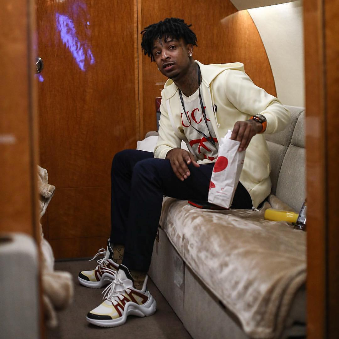 SPOTTED: 21 Savage Sports Gucci and Louis Vuitton on the Go