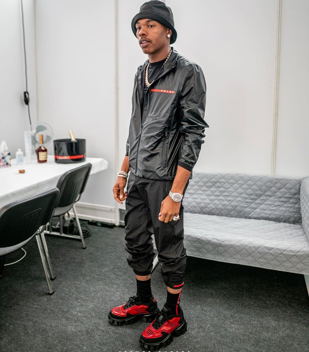 SPOTTED: Lil Baby Backstage in All-Prada-Everything