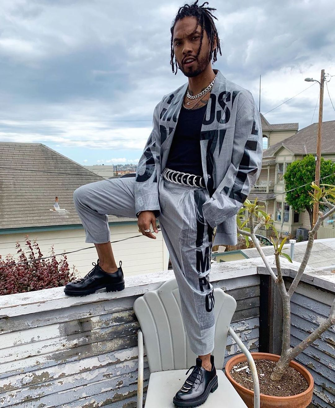 SPOTTED: Miguel in Doublet Set, DSquared2 Shoes & More