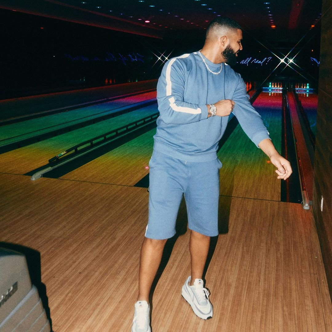 SPOTTED: Drake Hits Bowling Alley in Blue Co-ord